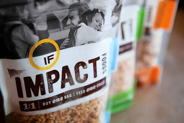 One company trying to get a start at the expo, Impact Foods, says it will fund a meal for a child through the World Food Program for every bag of granola it sells.