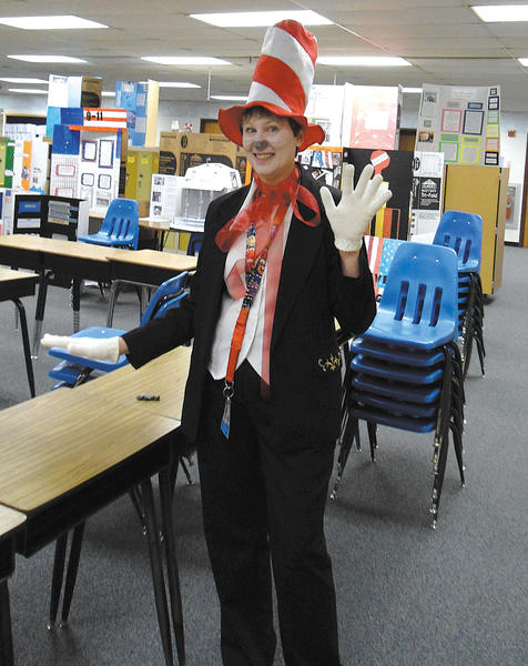 "Springfield Middle School library media specialist Anita Hagy celebrates reading as the ""Cat In the Hat."""