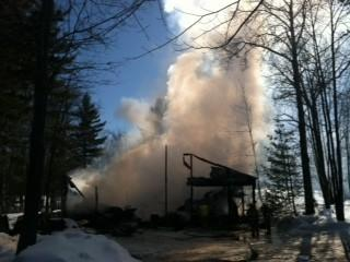Fire destroyed an equipment barn at the Natural golf course in Gaylord Sunday. HT - Chris Engle