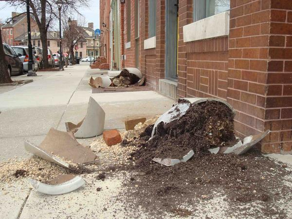 David Johnson of Fells Point said he and his wife woke up Sunday morning to find two large planters at their front stoop smashed, the soil spilling onto the sidewalk.