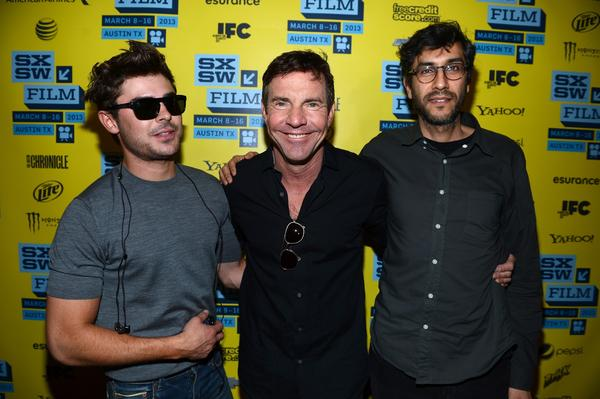 "Actor Zac Efron, actor Dennis Quaid and director Ramin Bahrani arrive for the screening of ""At Any Price"" in Austin, Texas."