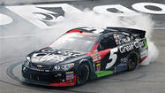 Kasey Kahne won his first career Sprint Cup Series race at Bristol Motor Speedway after Brad Keselowski struggled on the final restart.