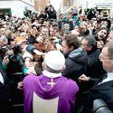 Pope Francis greets faithful after Mass in Vatican City