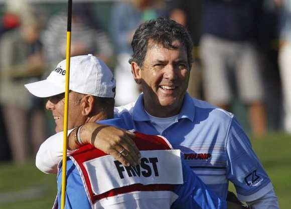 David Frost hugs his caddie after winning the 19th Toshiba Classic at Newport Beach Country Club Sunday.