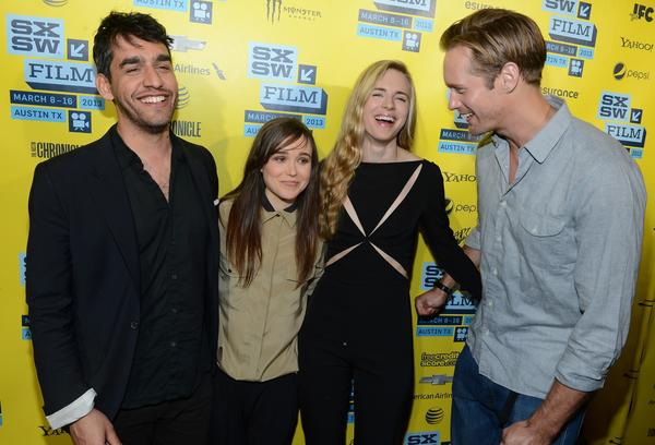"Director Zal Batmanglij, left, actress Ellen Page, actress Brit Marling and actor Alexander Skarsgard attend the premiere of ""The East."""