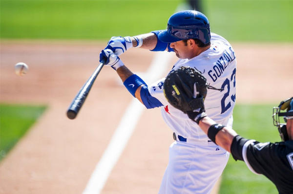 Dodgers first baseman Adrian Gonzalez bats during a spring training game against the Chicago White Sox in February.