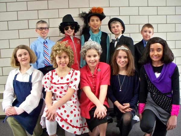 Fourth-graders who participated were, back row from left: Jaxson Spindler as Ole Christensen, Connor Kaup as Michael Jackson, Dillion Talks as Christopher Columbus, Zach Mayes as Winston Churchill and Lincoln Stuwe as Ronald Reagan. Front row, from left: Alex Seurer as Martha Stewart, Courtney Krueger as Shirley Temple, Kendra Kaup as Queen Elizabeth II, April Simon as Princess Kate Middleton and Callie Hartung as Michelle Obama.
