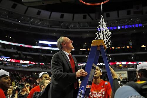 Ohio State coach Thad Matta cuts down the net.