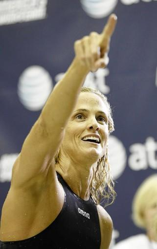 Dara Torres celebrates after finishing in 2nd place in the women's 50m freestyle finals during the 2011 AT&T Winter National Championships at the Georgia Tech Aquatic Center on December 1, 2011 in Atlanta, Georgia