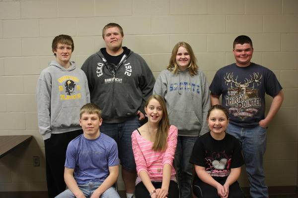Groton Area students of the month for February were, back row, from left: sophomore Luke Sternhagen, senior Tyler Holm, freshman Lily Cutler and junior Wyatt Sombke. Front row, from left: eighth-grader Kelby Hawkins, seventh-grader Jenifer Fjelstad and sixth-grader Alexis Simon.