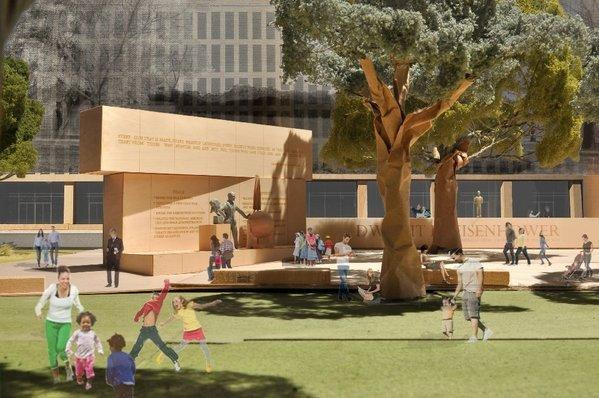 A model image, provided by the Eisenhower Memorial Commission, shows the proposed Dwight D. Eisenhower Memorial to be built in Washington.  The design is by architect Frank Gehry.
