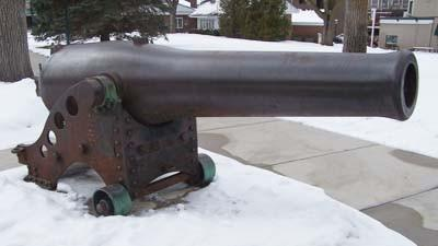 A Dahlgren cannon from the Civil War era sits on display in downtown Petoskey's Pennsylvania Park. A few area residents hope to improve the cannon display by 2014, which will mark the 150th anniversary of the Battle of Mobile Bay, in which the cannon was used aboard the U.S.S. Hartford.