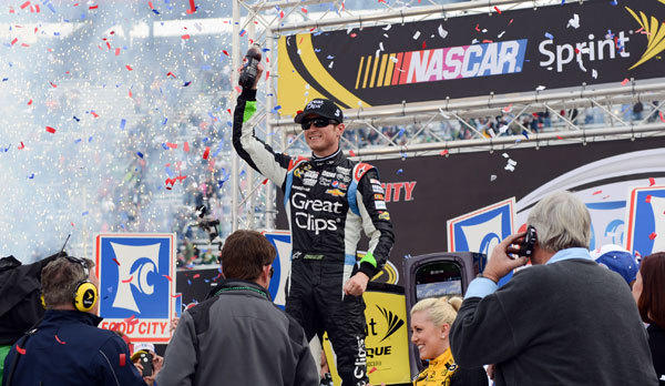 NASCAR Sprint Cup Series driver Kasey Kahne (5) in victory lane after winning the Food City 500 at Bristol Motor Speedway.