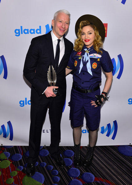 Anderson Cooper and Madonna at the GLAAD Media Awards on Saturday in New York.