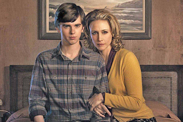 "Freddie Highmore plays Norman Bates as a teenager and Vera Farmiga plays his mother in ""Bates Motel."""