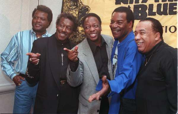 Members of the Spinners -- John Edwards, left, Bobbie Smith, Henry Fambrough, Pervis Jackson and Billy Henderson -- in 1997.