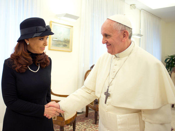 Pope Francis meets Argentine President Cristina Fernandez de Kirchner on Monday in Vatican City.