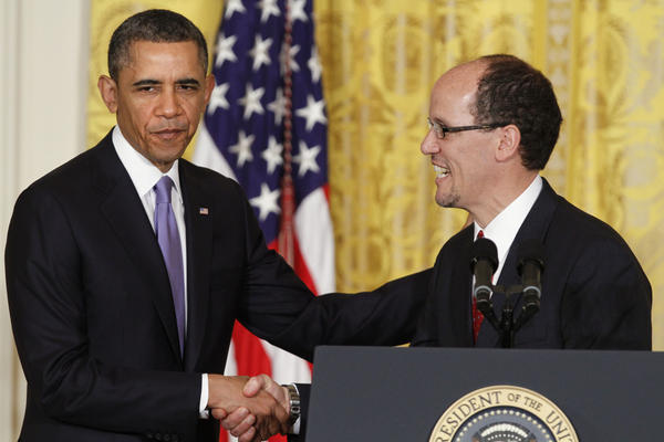 President Obama with Thomas Perez, his nominee to be Labor secretary.