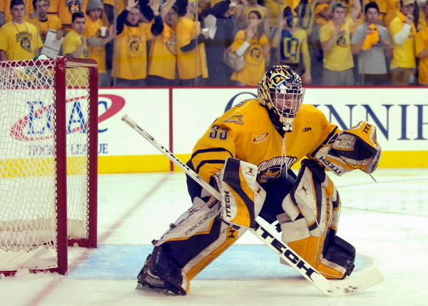 Quinnipiac goalie Bud Fisher stopped all 14 shots he faced against Holy Cross in January 2007 at the brand new TD Banknorth Sports Center in Hamden, Conn.  It was Quinnipiac's first game at the new facility.