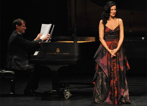 Angela Gheorghiu with pianist Jeffrey Cohen at her Broad Stage recital.