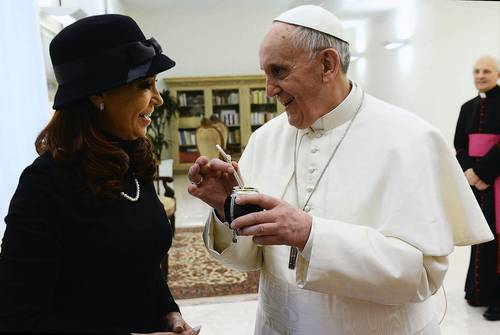 Pope Francis, Cardinal Jorge Mario Bergoglio of Argentina, holds a mate given to him as a present from Argentine President Cristina Fernandez de Kirchner at the Vatican City.