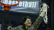 Quinnipiac Women's Basketball Coach Cuts Down Net