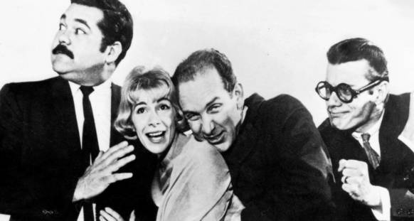 Avery Schreiber (from left), Joan Rivers, Bill Alton, and Del Close at Second City in 1961.