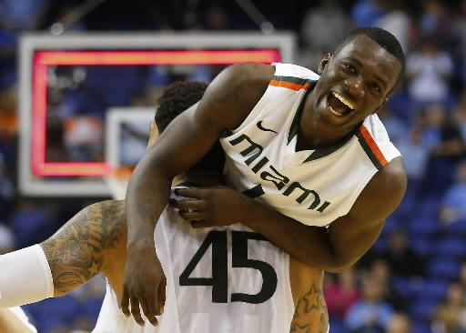 Miami's Durand Scott celebrates ACC title with Julian Gamble