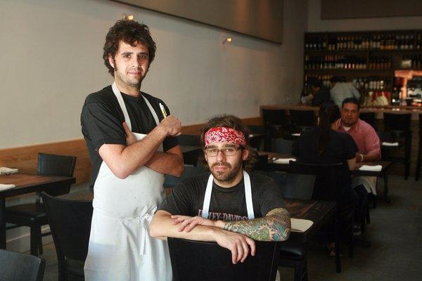 Jon Shook (L) and Vinny Dotolo (R), owners of Animal in Los Angeles are nominated for James Beard awards.