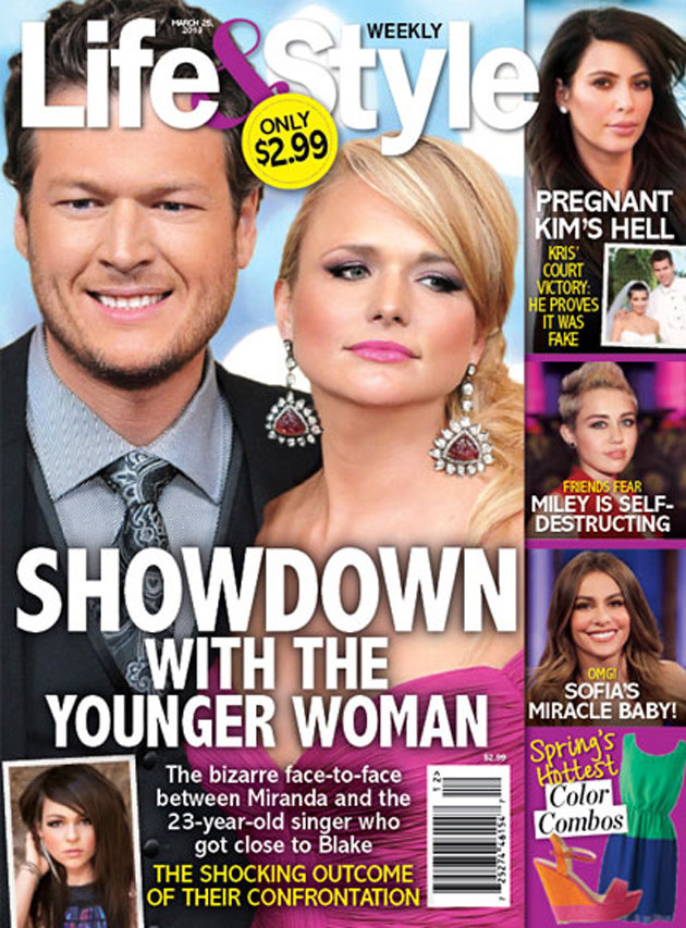 Magazine cover: Rumors of Blake Shelton and Miranda Lambert split