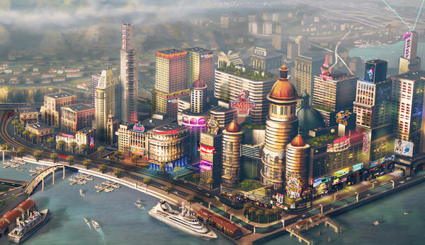 "Electronic Arts Chief Executive John Riccitiello will step down March 30, as the company warns it may report lower than expected quarterly earnings. Gamers complained of online connectivity problems with the new version of its beloved PC title ""SimCity,"" whose concept art for a waterfront city is shown in this image."