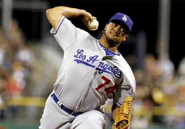 Dodgers pitcher Kenley Jansen closes out the ninth inning against the Pittsburgh Pirates in August of last season.