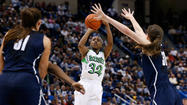 Notre Dame freshman Jewell Loyd shoots against UConn in the Big East tourney final.  Loyd had 16 points in the Irish win.  (David Butler II/ USA Today Sports)