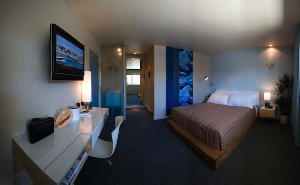A Jewel guestroom (room types are named the Strand, the Jewel and the Gem) at the Pearl Hotel in San Diego.