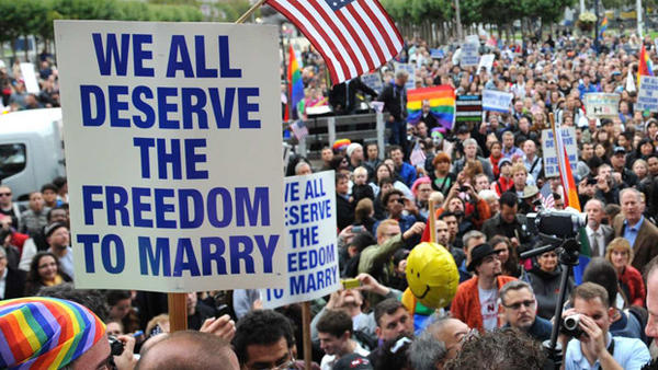 Recent polls have shown that most Americans now believe, like these San Francisco protesters in August 2010, that gay marriage should be legal.