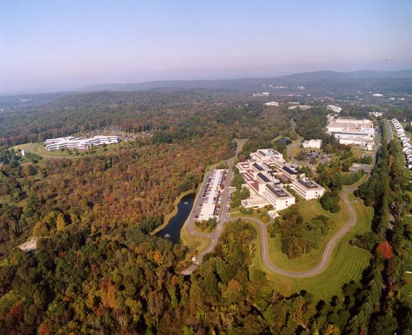 An aerial photo of Boehringer Ingelheim pharmaceutical company located on the border of Ridgefield and Danbury Connecticut. The campus houses 2,500 of the 11,000 employes the German company employs in United States. The photo shows the Administrative Office Building, in the upper left, and the R&D complex at right.