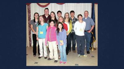 Front row are Mary Dice, Karen Dice, Ashley Stoltzfus, Abby Stoltzfus, Kaitlyn Stoltzfus, Jessica Dice, Miranda Black, Elizabeth Stoltzfus. Back row - all the guys: Sam McWilliams, Collin Stoltzfus, Bobby Simonsick, and Allen Lehman.