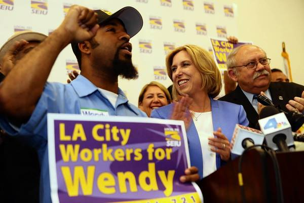 "Wendy Greuel visits a green technology firm earlier this month. ""I would like to sit with the labor leaders, as I've expressed to them, to make sure we get that pension reform that they agree with,"" the mayoral candidate told The Times."