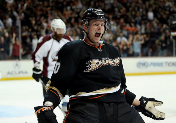 Anaheim Ducks' Corey Perry celebrates after scoring the game winning goal in overtime against the Colorado Avalanche.