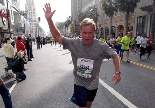 Columnist Chris Erskine runs in the L.A. Marathon on St. Patrick's Day.