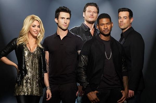 """The Voice"" judges Shakira, Adam Levine, Blake Shelton, Usher and host Carson Daly."