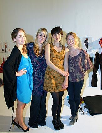 From left, Erika Christensen, designer Sophia Coloma, Ceren Alkac and designer  Marissa Ribisi  pose at the Whitley Kros installation.
