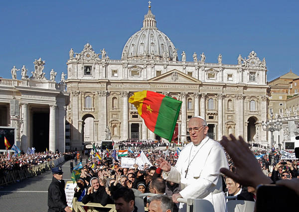 Pope Francis arrives in Saint Peter's Square for his inaugural mass at the Vatican on March 19.
