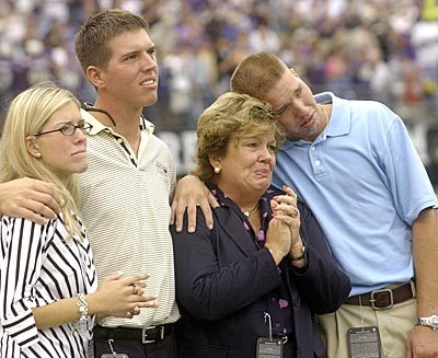 Sun archives: Baltimore Colts photos - The Unitas family at the pre-game tribute to John Unitas