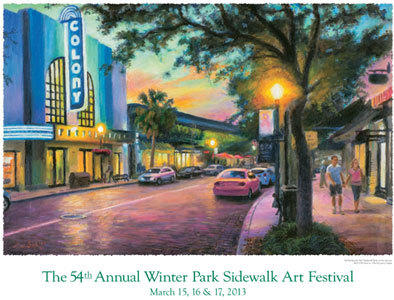 The 2013 Winter Park Sidewalk Art Festival poster -- the 54th anniversary of of the festival. Art by Tom Sadler