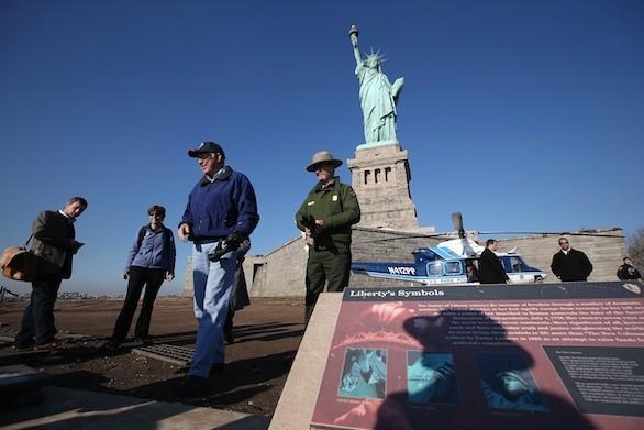 Interior Secretary Ken Salazar in December inspected damage caused by Hurricane Sandy to the grounds of the Statue of Liberty.