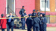 A spate of violence in the city continued with a daylight shooting that left three people dead inside a West Baltimore apartment, as members of the City Council on Tuesday pressed police commanders to address a rise in killings and robberies.