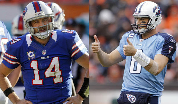 Ryan Fitzpatrick, left, is the Tennessee Titans' new backup quarterback, a role previously filled by Matt Hasselbeck, the new Indianapolis Colts backup.