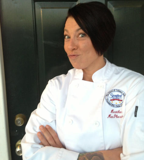 We're guessing that Heather Spiker-MacPherson makes this face a lot while cooking.