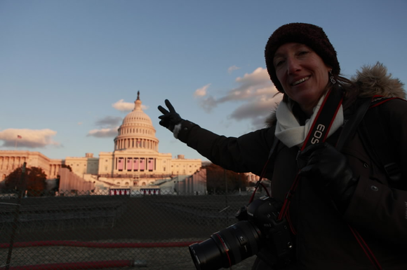 Nancy Stone, Tribune photographer, at the Inauguration site at the US. Capitol on Thursday, January 15, 2009.